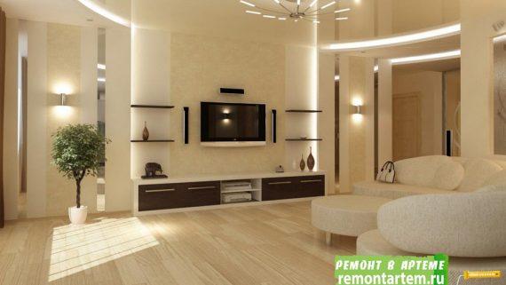 Ремонт гостиной комнаты в новостройке Артёма