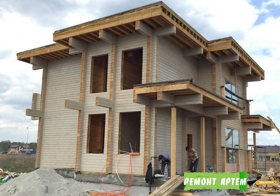 Строительство двухэтажного дома из бруса в Артёме